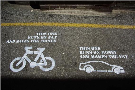 Figura 3 - Bicicleta x Carro (O da esquerda queima gorduras e poupa dinheiro; o da direita queima dinheiro e poupa gorduras). Fonte: http://www.cycleharrogate.org/2012/05/why-cycle-harrogate-matters.html