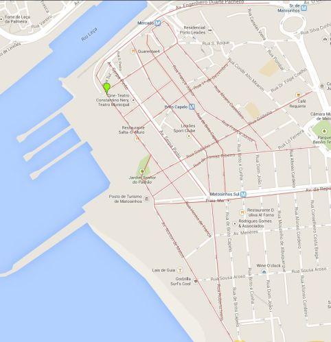 mapa cicloviário proposto Matosinhos