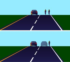 Motorist perception of bicyclist position and available passing space. [Graphic: Keri Caffrey]
