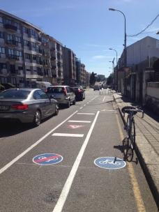 Início da via ciclável na Rua de Pedro Hispano